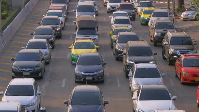 rush hour traffic on multiple highways at bangkok, thailand - bloccato video stock e b–roll