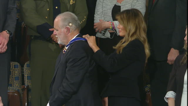 rush limbaugh receives the medal of freedom from first lady melania trump during president trump's state of the union address. - medal stock videos & royalty-free footage