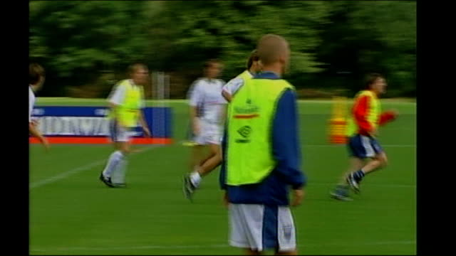 rushes from 1990s; england: berkshire: bisham abbey: ext england squad training ahead of their match against poland including beckham, darren... - 1990 1999 stock videos & royalty-free footage