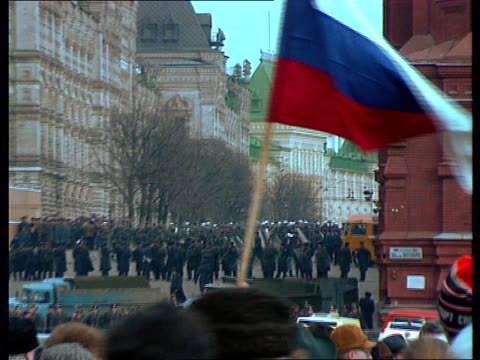 rushes gorbachev's politics called into question anticommunist / democratic demonstrations in moscow police intervention - former soviet union stock videos & royalty-free footage