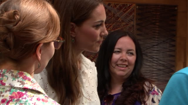 rushes of catherine duchess of cambridge chatting to people at her 'back to nature' woodland garden design which she unveiled as part of the chelsea... - chelsea flower show stock videos & royalty-free footage