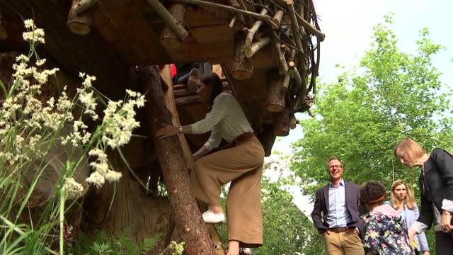 rushes of catherine, duchess of cambridge climbing tree house and chatting to children at her 'back to nature' woodland garden design, which she... - festival dei fiori di chelsea video stock e b–roll