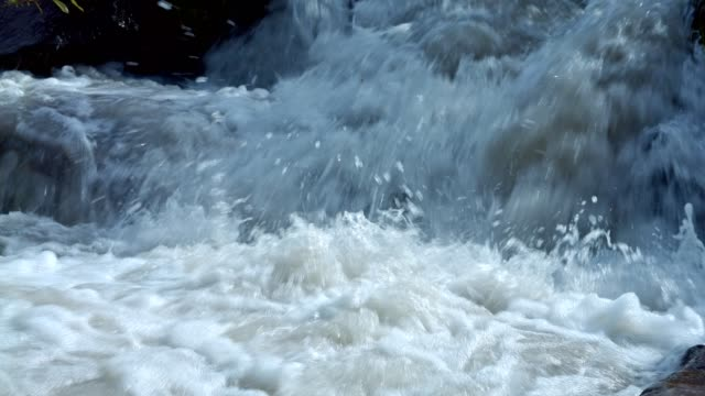 Rushing rapid waters of glacial snowmelt stream high in the mountains 2 - Summer on Mound Hood