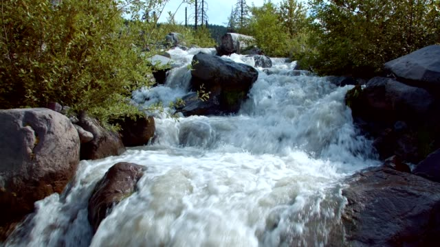 Rushing rapid waters of glacial snowmelt stream high in the mountains 1 - Summer on Mound Hood