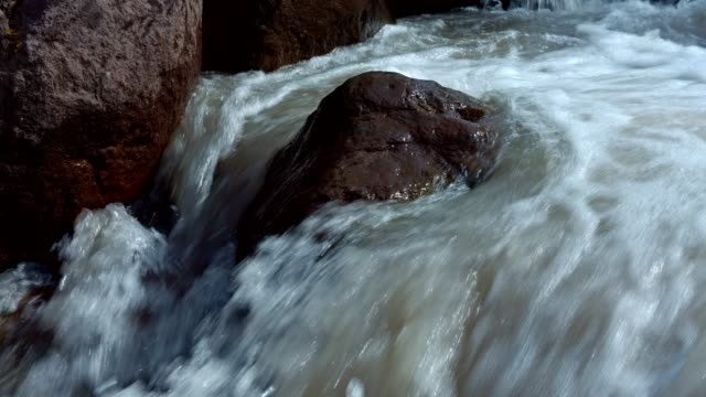 Rushing rapid waters of glacial snowmelt stream high in the mountains 3 - Summer on Mound Hood