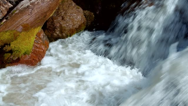 Rushing rapid waters of glacial snowmelt stream high in the mountains 4 - Summer on Mound Hood