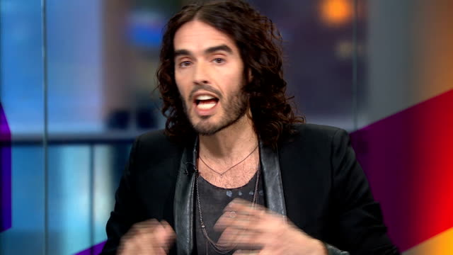 russell brand backed petition on uk drug laws england london gir int russell brand studio interview sot making drugs illegal doesn't work didn't... - compound interest stock videos and b-roll footage
