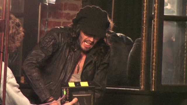 russell brand filming on location at the celebrity sightings in los angeles at los angeles ca - russell brand stock videos and b-roll footage