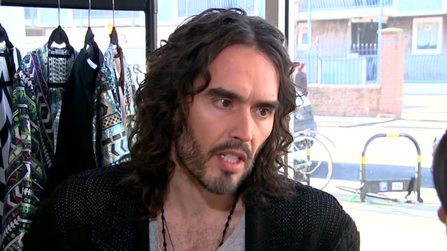 Russell Brand helps recovering drug addicts back into work Hackney Russell Brand setup shot and interview SOT re problems in prisons Russell Brand...
