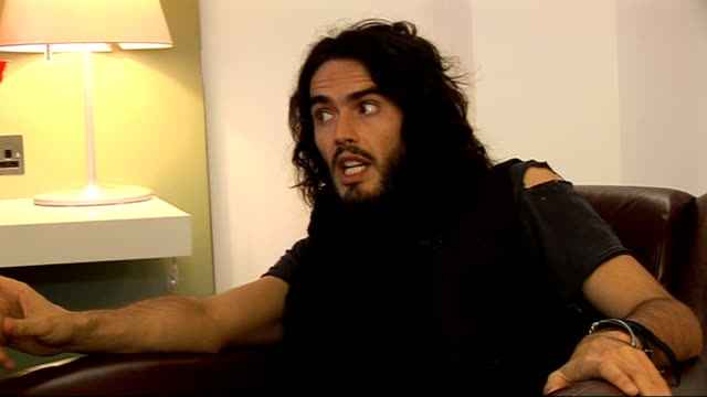 London INT Russell Brand interview SOT What his Channel 4 show with Frank Skinner is about / On similarities with Frank Skinner beneath the jib / On...