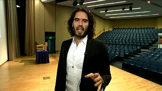 Russell Brand interview on books and reading ENGLAND London GIR INT Russell Brand 2WAY interview SOT On his lecture 'A Manifesto on Reading' / some...