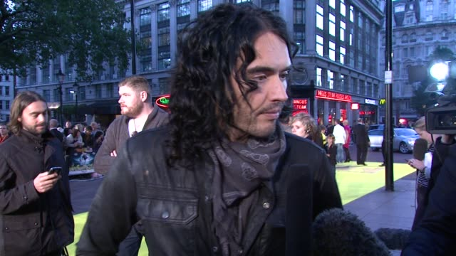 Russell Brand on synopsis on what the message on the film dominating the world on inventions at the Despicable Me European Premiere at London England