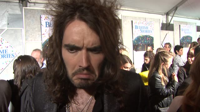 russell brand on the film, his character, what he wants movie-goers to know at the 'bedtime stories' premiere at los angeles ca. - bedtime stock videos & royalty-free footage