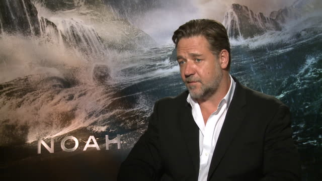 russell crowe about how he misses his kids during his work and his perspective about the biblical character noah - russell crowe stock videos & royalty-free footage