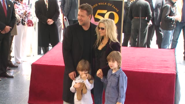 russell crowe and family at the russell crowe honored with a star on the hollywood walk of fame at hollywood ca. - walk of fame stock videos & royalty-free footage