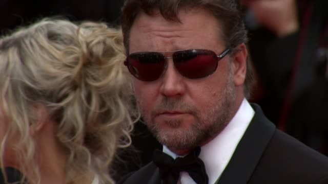russell crowe and wife danielle spencer at the robin hood red carpet cannes film festival 2010 at cannes - russell crowe stock videos & royalty-free footage