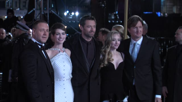 Russell Crowe Anne Hathaway Hugh Jackman Amanda Seyfried and Tom Hooper at the World Premiere of Les Miserables at the Odeon Leicester Square on...