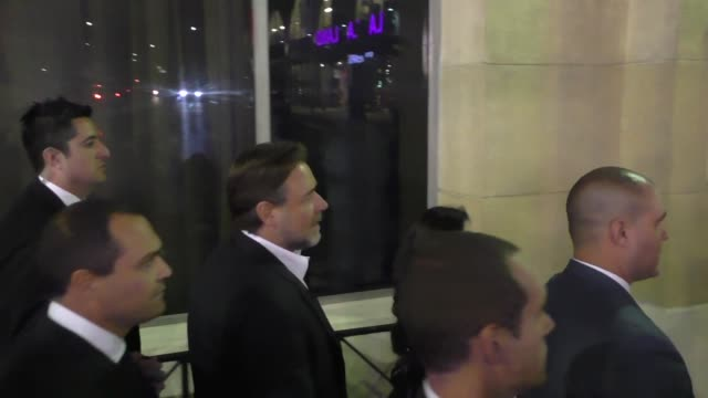 russell crowe arriving to roosevelt hotel in hollywood on may 10 2016 in los angeles california - russell crowe stock videos & royalty-free footage