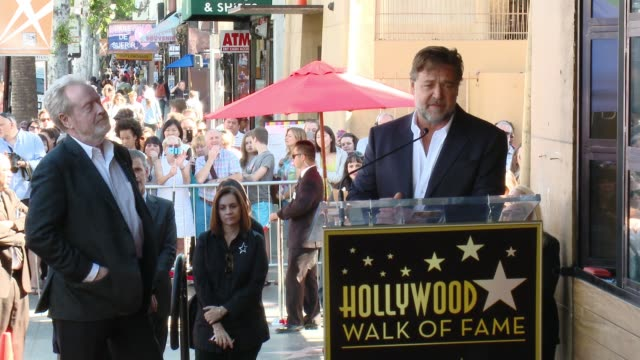 russell crowe at director ridley scott honored with star on the hollywood walk of fame at hollywood walk of fame on november 05, 2015 in hollywood,... - russell crowe stock videos & royalty-free footage