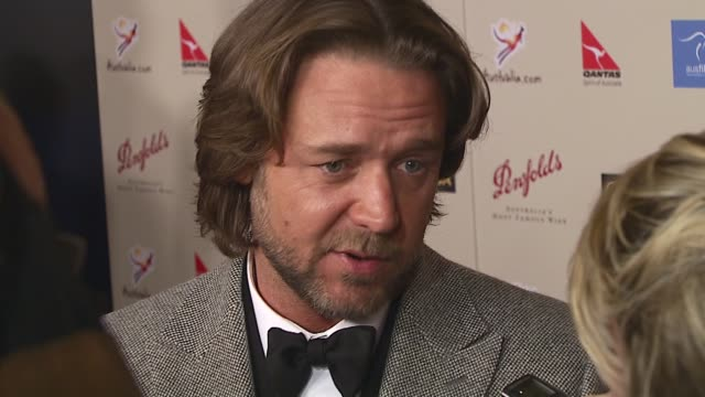 russell crowe at the 2007 penfolds icon black tie gala at hyatt regency century plaza in los angeles, california on january 13, 2007. - russell crowe stock videos & royalty-free footage