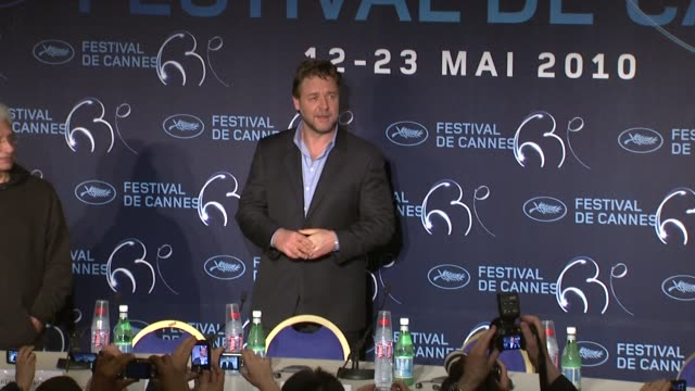 russell crowe at the robin hood press conference cannes film festival 2010 at cannes - russell crowe stock videos & royalty-free footage
