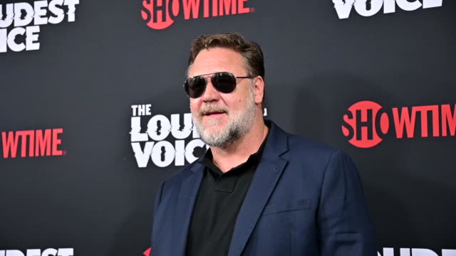 """russell crowe at the """"the loudest voice"""" new york premiere at paris theatre on june 24, 2019 in new york city. - russell crowe stock videos & royalty-free footage"""