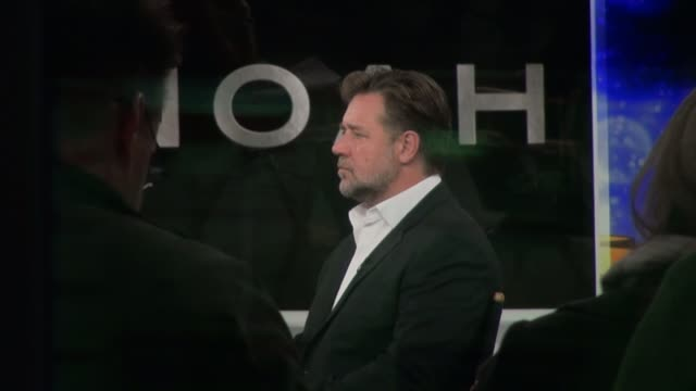 russell crowe being interviewed on the set of the good morning america show in celebrity sightings in new york - russell crowe stock videos & royalty-free footage