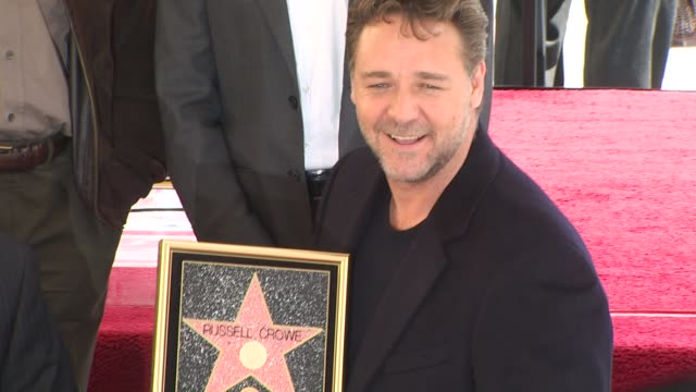 russell crowe honored with a star on the hollywood walk of fame hollywood ca united states 4/12/10 - walk of fame stock videos & royalty-free footage
