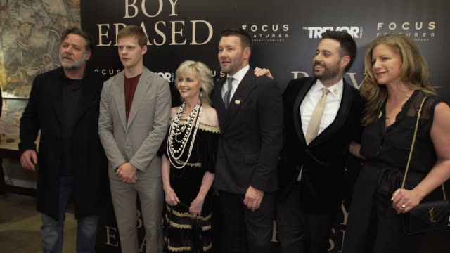 russell crowe lucas hedges martha conley joel edgerton garrard conley at boy erased new york special screening presented by focus features at the... - russell crowe stock videos & royalty-free footage