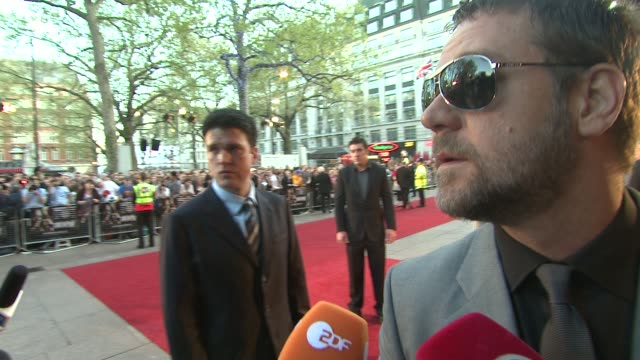 russell crowe on showing his films to his children at the state of play world premiere at london . - russell crowe stock videos & royalty-free footage