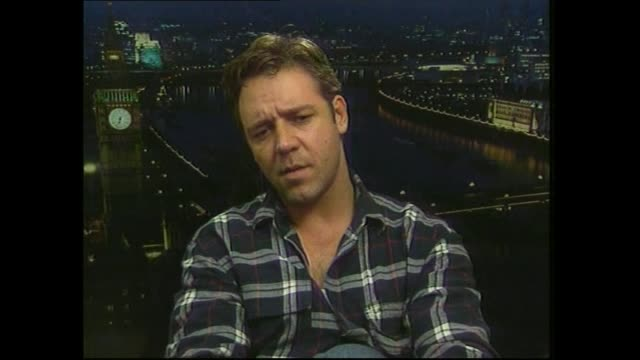Russell Crowe speaking in 2000 about the challenges in filming scenes in Gladiator during satellite interview with host Paul Holmes