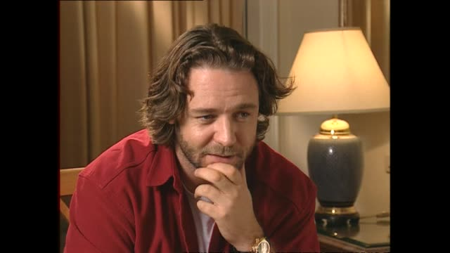 russell crowe speaking in 2002 about being a celebrity with paparazzi incident in rome and possibility of having children with partner danielle... - russell crowe stock videos & royalty-free footage