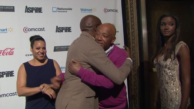 "russell simmons and andre harrell at ""aspire"" television network launch event at cipriani 42nd street on june 27, 2012 in new york, new york - russell simmons stock videos & royalty-free footage"