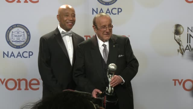 russell simmons and clive davis at the 46th annual naacp image awards press room at pasadena civic auditorium on february 06 2015 in pasadena... - pasadena civic auditorium stock videos & royalty-free footage