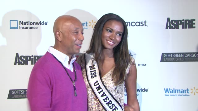 "vídeos y material grabado en eventos de stock de russell simmons and miss universe 2011 leila lopes at ""aspire"" television network launch event at cipriani 42nd street on june 27, 2012 in new york,... - concurso television"