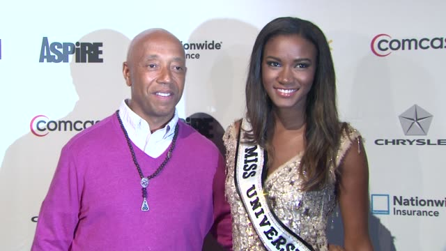 "russell simmons and miss universe 2011 leila lopes at ""aspire"" television network launch event at cipriani 42nd street on june 27, 2012 in new york,... - russell simmons stock videos & royalty-free footage"