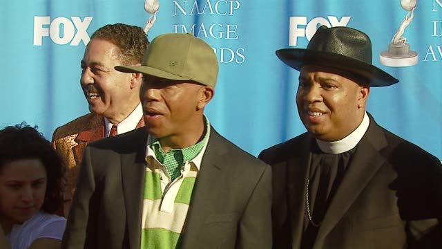 russell simmons and reverend run at the 38th naacp image awards at the shrine auditorium in los angeles, california on march 2, 2007. - russell simmons stock videos & royalty-free footage