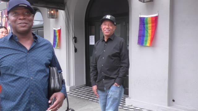 interview russell simmons comments on the obama's spotify podcast outside craig's restaurant in west hollywood in celebrity sightings in los angeles - russell simmons stock videos & royalty-free footage