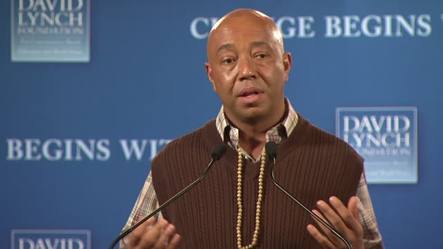 russell simmons discusses why he is coming out to support the cause and his own experience with meditation at the david lynch foundation's 'change... - russell simmons stock videos & royalty-free footage