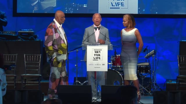 vídeos y material grabado en eventos de stock de speech russell simmons makes opening remarks at russell simmons rush philanthropic arts foundation's 2016 art for life benefit at fairview farms on... - russell simmons