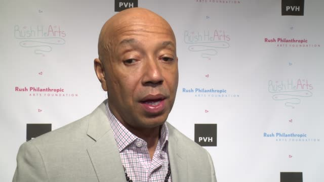 interview russell simmons on being philanthropic at russell simmons' rush philanthropic arts foundation's annual rush hearts education luncheon at... - russell simmons stock videos & royalty-free footage