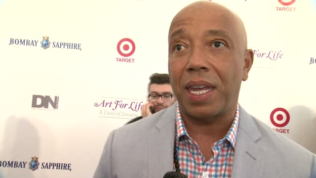 interview russell simmons on the gala at 15th annual art for life gala at fairview farms on july 26 2014 in bridgehampton new york - russell simmons stock videos & royalty-free footage