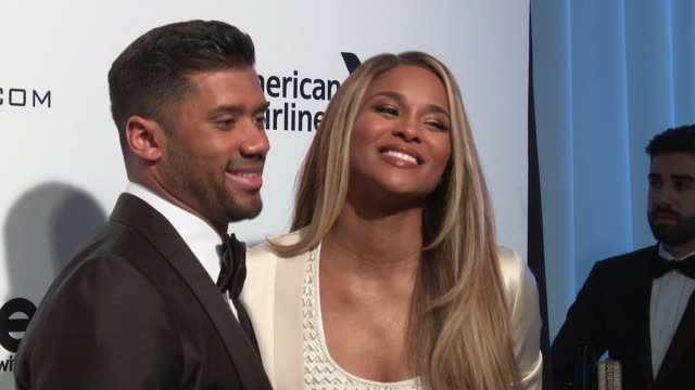 russell wilson and ciara at elton john aids foundation presents the 25th annual academy awards viewing party on february 26 2017 in west hollywood... - ciara stock videos & royalty-free footage