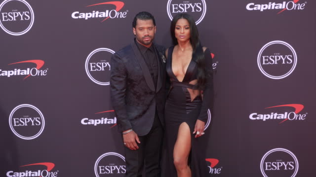 russell wilson and ciara at the 2019 espys at microsoft theater on july 10 2019 in los angeles california - ciara stock videos & royalty-free footage