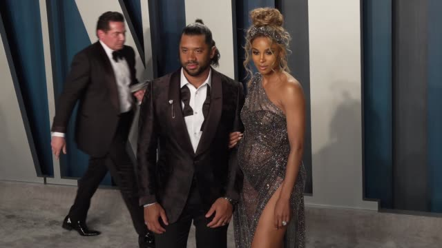 russell wilson and ciara at vanity fair oscar party at wallis annenberg center for the performing arts on february 09 2020 in beverly hills california - vanity fair video stock e b–roll