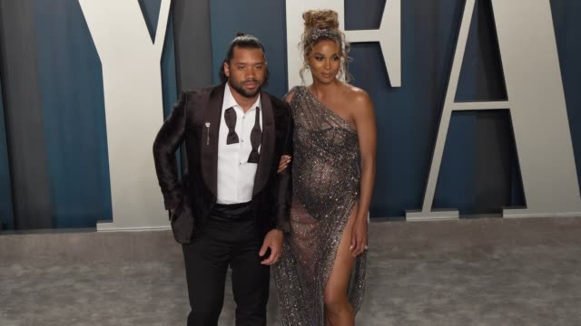 russell wilson and ciara at vanity fair oscar party at wallis annenberg center for the performing arts on february 09 2020 in beverly hills california - ciara stock videos & royalty-free footage