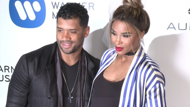 russell wilson ciara at warner music group grammy party in los angeles ca - ciara stock videos & royalty-free footage