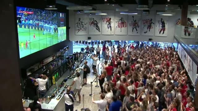 England beat Colombia on penalties to reach quarterfinals ENGLAND Bristol INT Supporters watching match on big screen and then celebrating Plymouth...