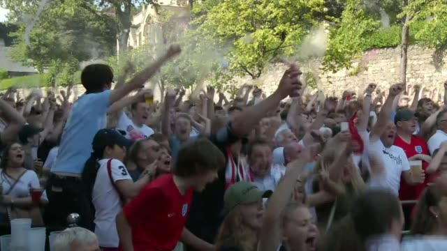 england beat sweden to reach semifinals england sunderland ext crowd of england fans celebrating goal for england - fifa world cup 2018 stock videos & royalty-free footage