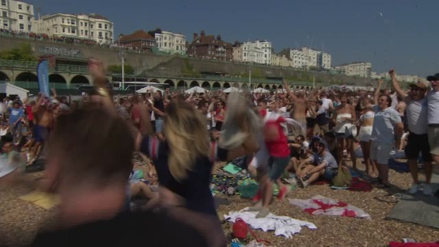 England beat Sweden to reach semifinals ENGLAND East Sussex Brighton EXT Crowd of England fans celebrating England's first goal on Brighton beach